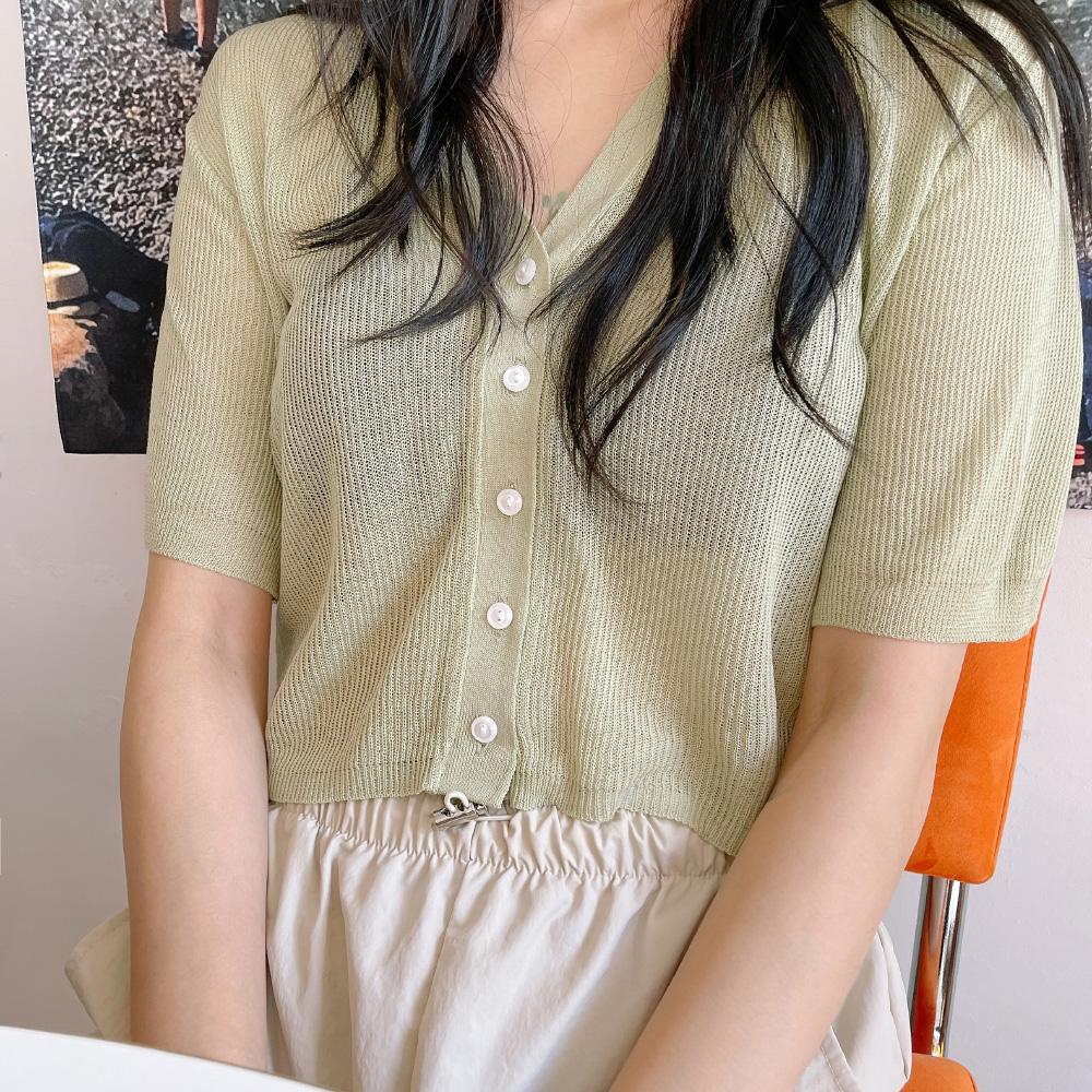 Melo semi-crop short-sleeved cardigan