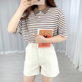 Striped Linen Collar Short Sleeve Tee