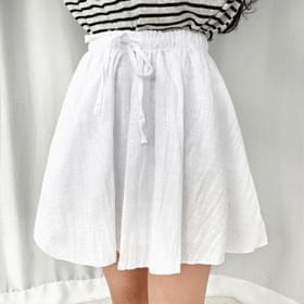 Ribbon Linen Banding Skirt