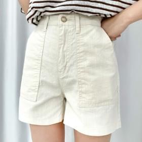 Big Pocket Linen Short Pants