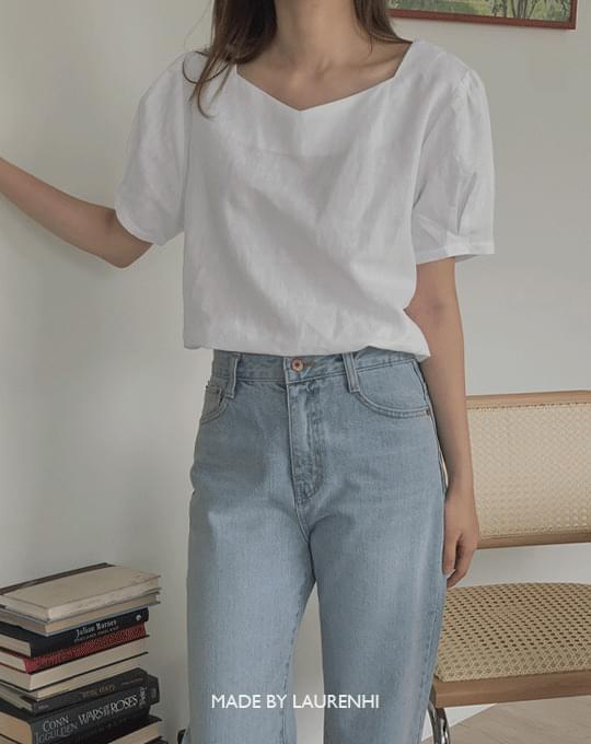 Heart Neck Linen Shirring Blouse - 2 color