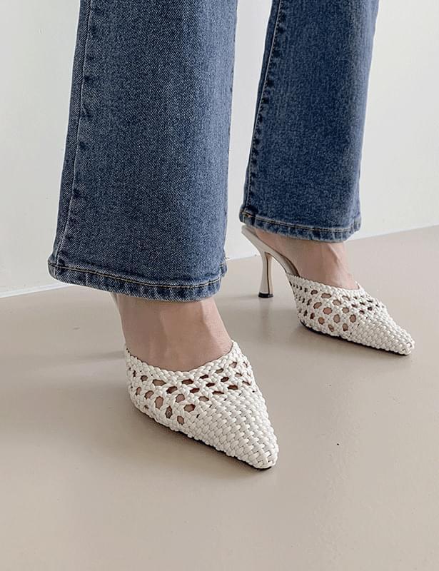 woven stiletto heel shoes