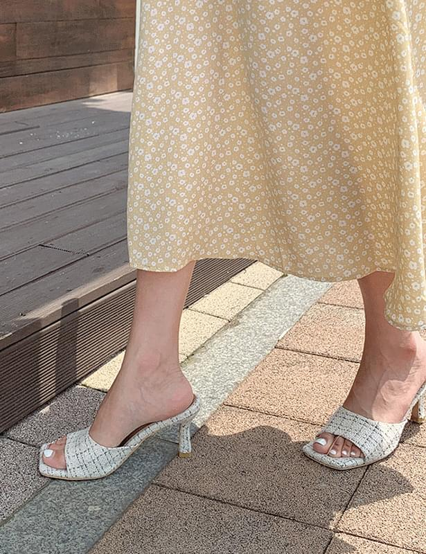 Rosette tweed mules shoes