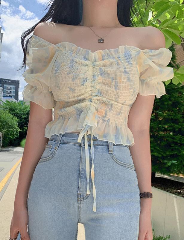 Water printing shirring smoke blouse