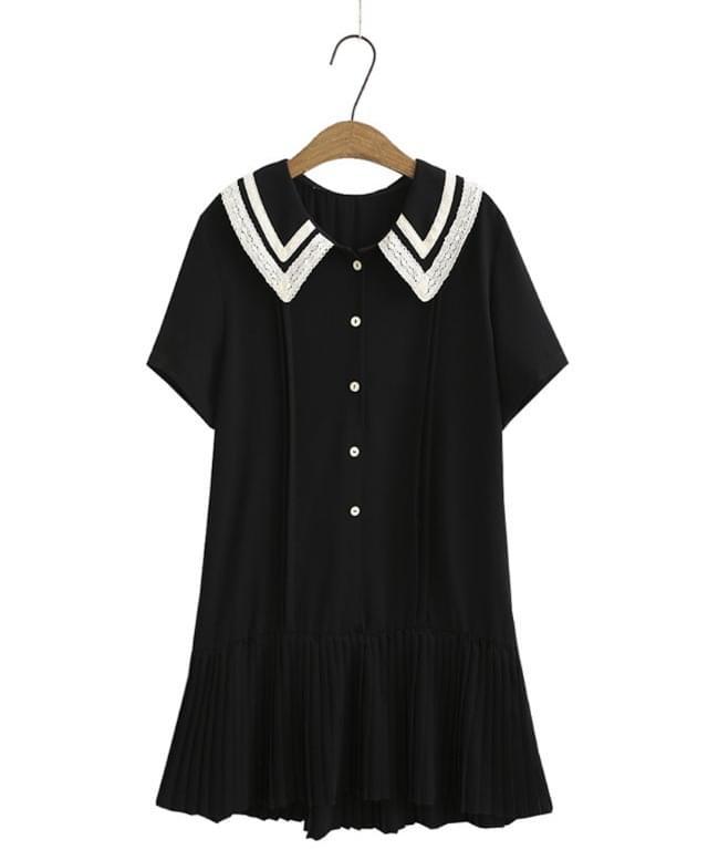 Big Size 66-120 Rotine Lace Collar Black Dress