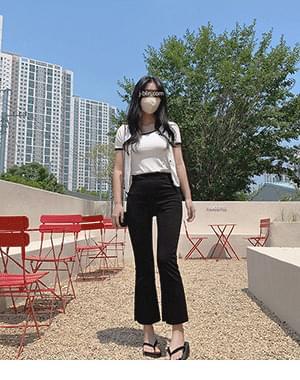 Tio color cardigan + min high waist Flared slacks
