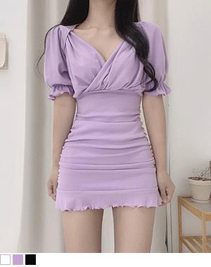 Momentary ruffle shirring Dress