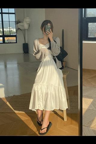 New 5% Milk Cream Sleeveless Long Dress