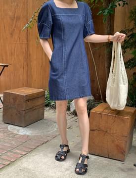 Stitched puff denim Dress