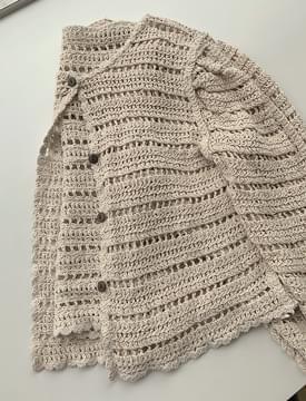 Summer Punching Knitwear Puff Cardigan