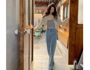High-Wide Straight Denim Pants