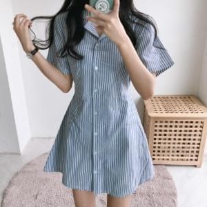 Pero collar short-sleeved mini Dress