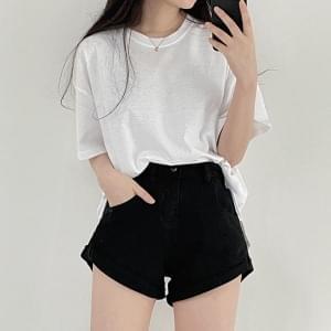 Denim, cotton roll-up short pants
