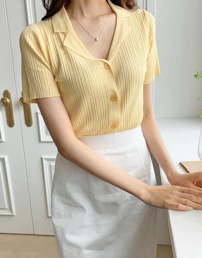 Merit Ribbed Cara Short Sleeve Knitwear