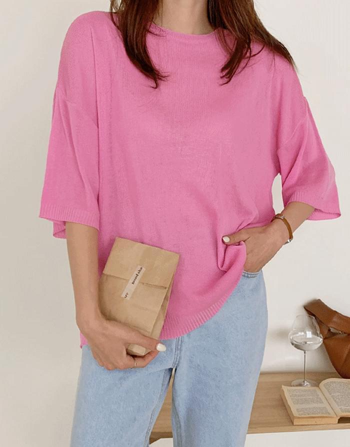 Fruity Summer Loose-fit Short Sleeve Knitwear