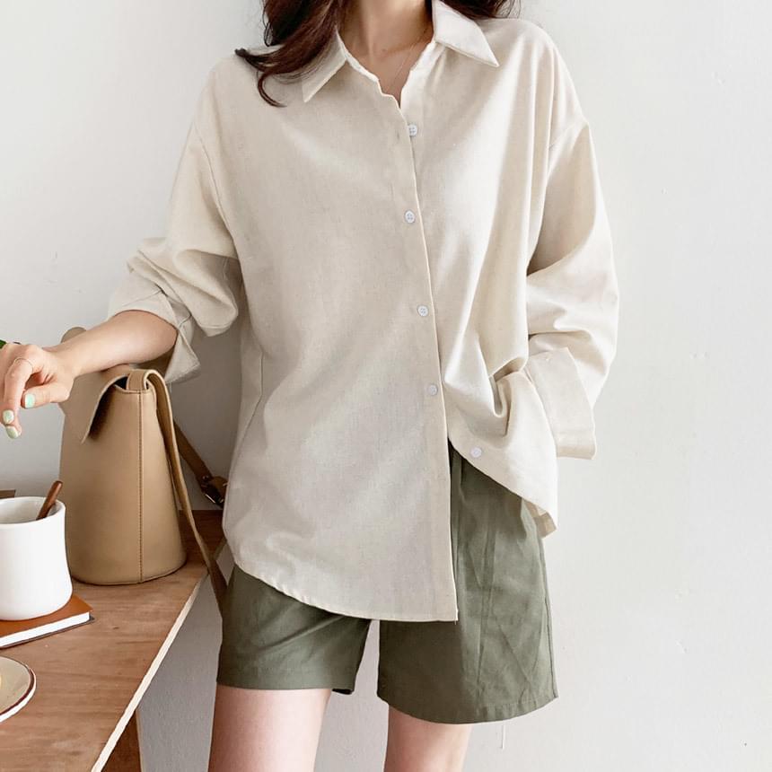 Heize Linen Over Fit Shirt Shirt