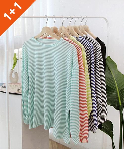 jelly stripe long sleeve tee