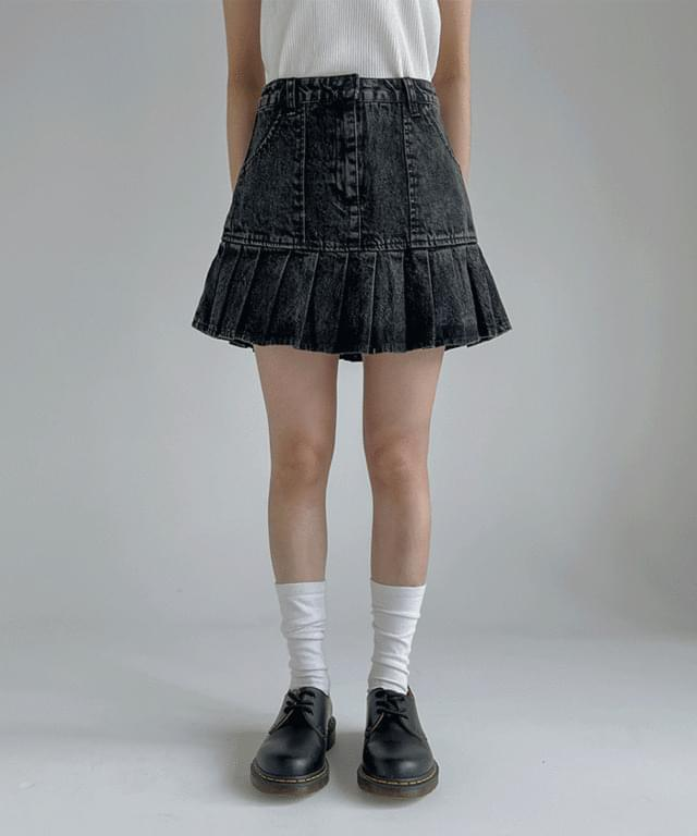 Junber pleated denim skirt