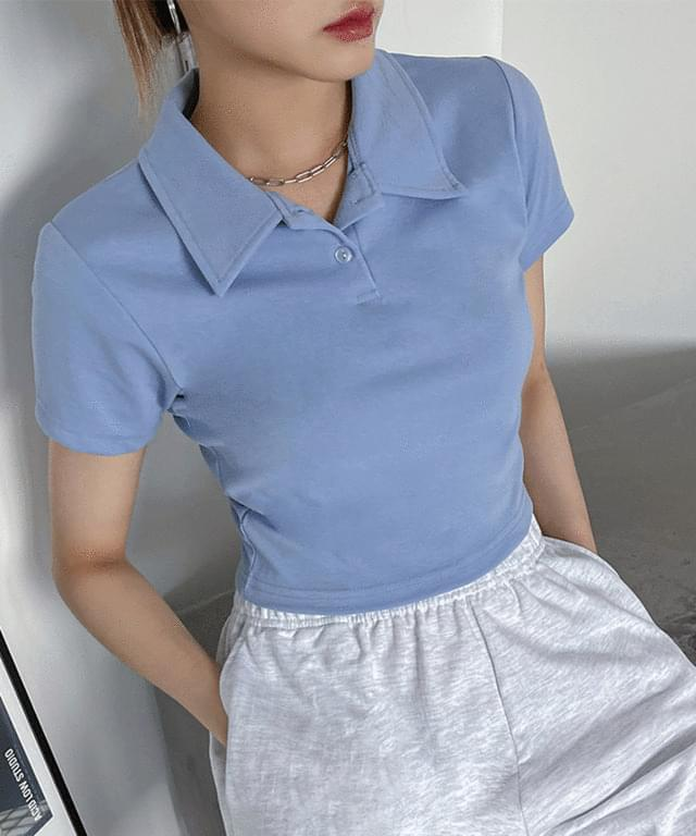 mesa cropped collar T-shirt