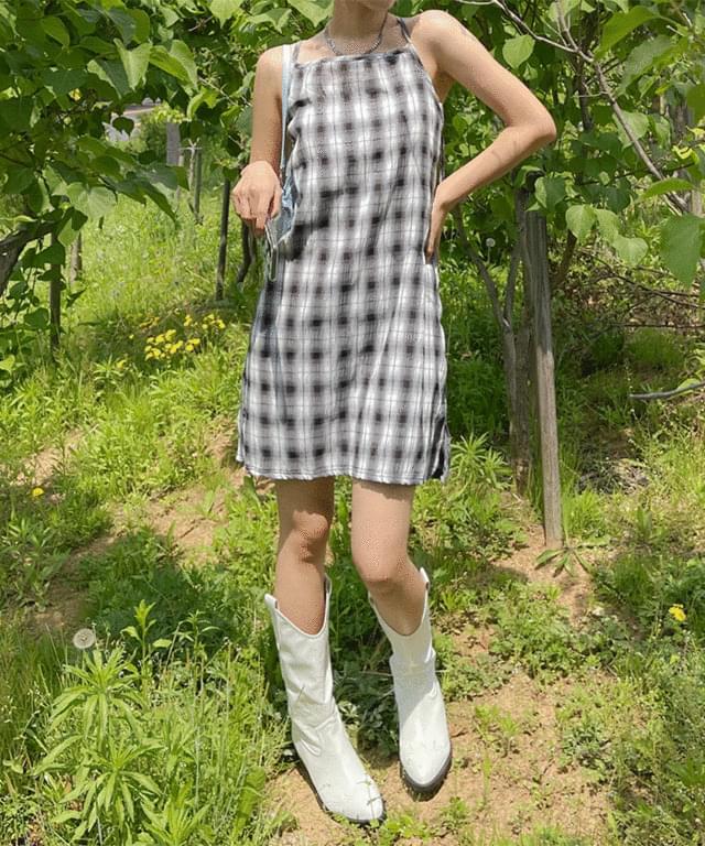 Pure Check Sleeveless Mini Dress