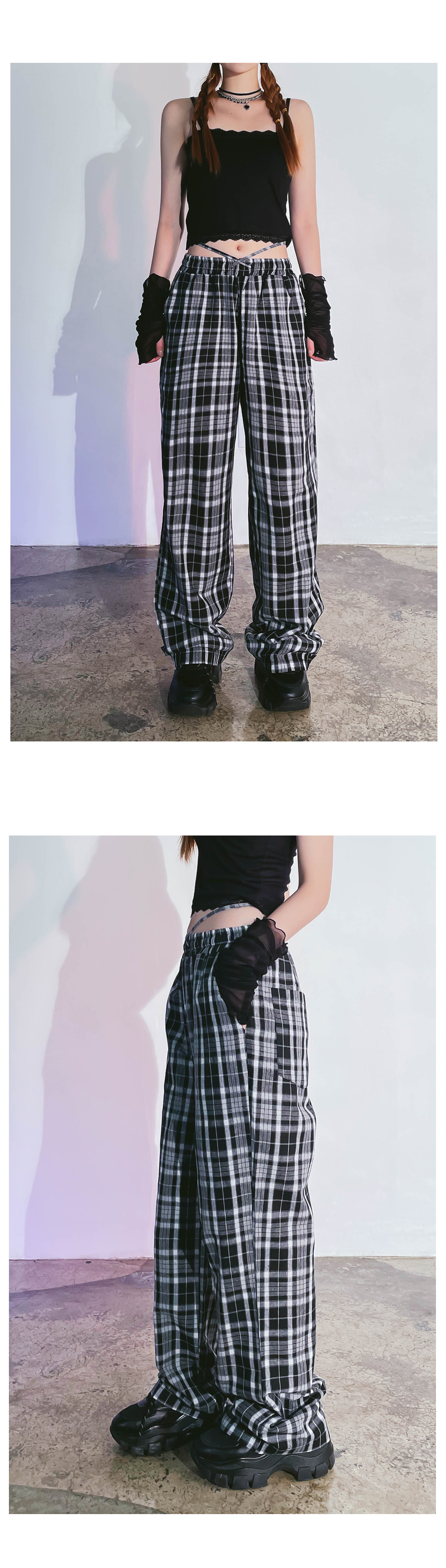 check dial wide pants