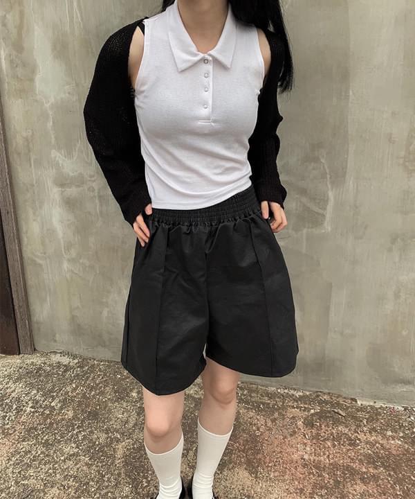 Tennis Collar Button Sleeveless