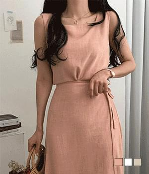 LPI Linen Square Neck Sleeveless + Wrap Skirt Two-Piece Set