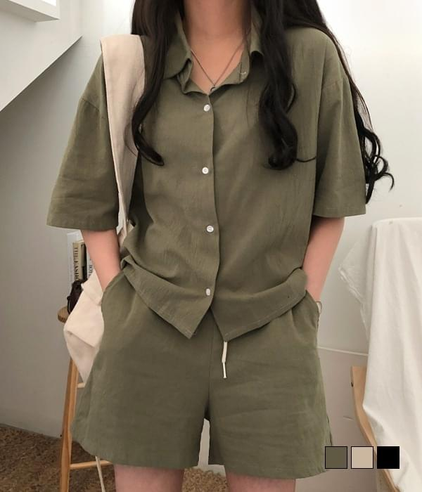 And Linen Shirt Pants Two-Piece Set