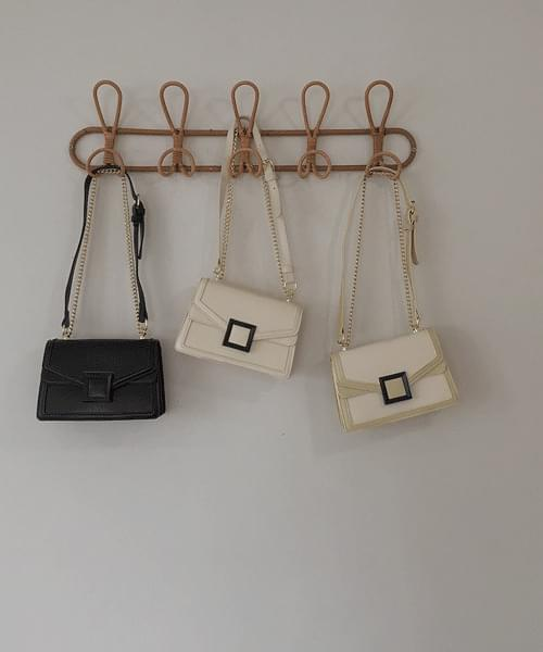 Mystery Gold Square Chain Double Strap Shoulder Crossbody Bag