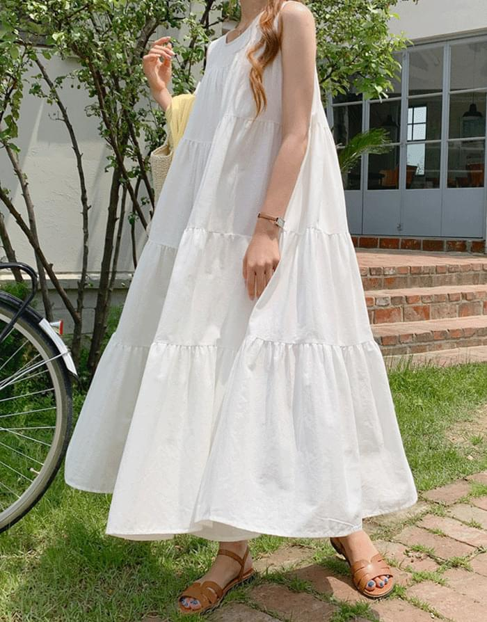 Aren Sleeveless Cancan Flare Long Dress