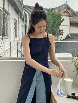 pleated slit bustier Dress