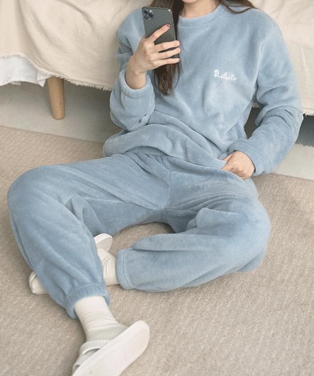 Soft Lettering Sleep Pajamas Set