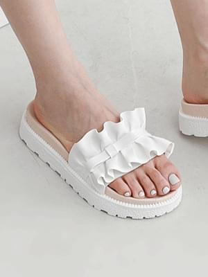 Shirring ruffle enamel ribbon slippers 11016