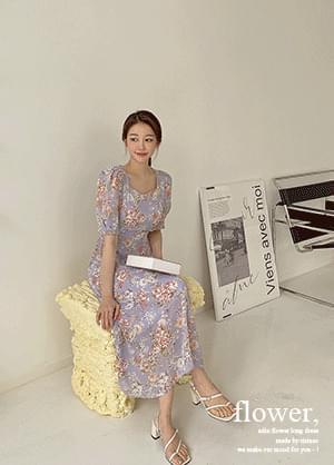 Aidin Heartneck Flower Long Chiffon Dress