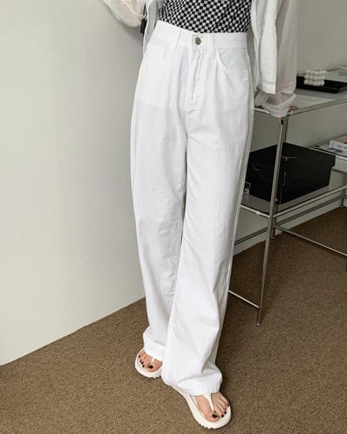 Wafi Summer Basic Linen Cotton Wide Pants