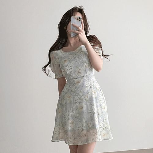Clavicle Goddess Square Neck Puff Chiffon Flower Dress 2color