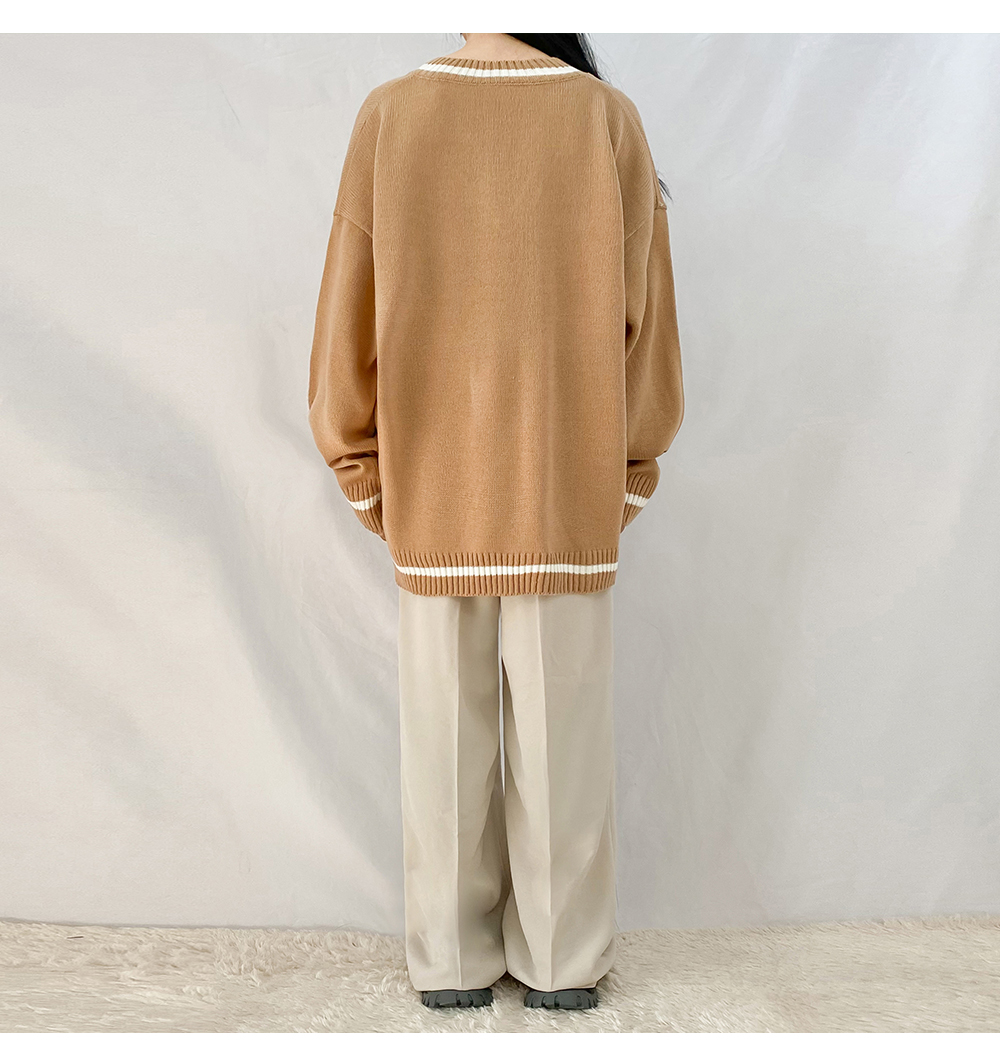 Big Size 55-99 Lauto V-Neck Over Fit Knitwear