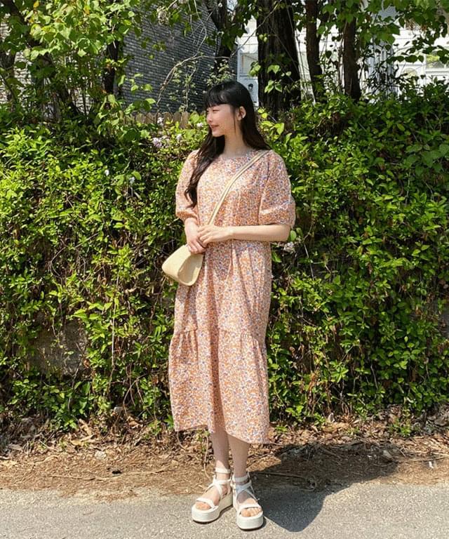 Big Size 55-120 Garden Flower Long Puff Dress