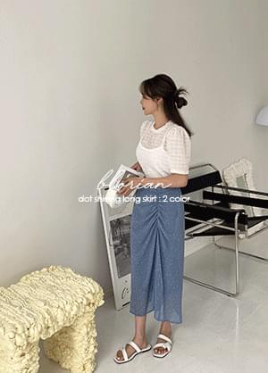 Bloomian Dot Shirring Back Banding Long Skirt