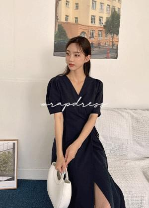 Flavin V-Neck Wrap Style Linen Long Dress