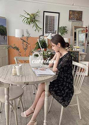 Qribin Chiffon Flower Mini Dress