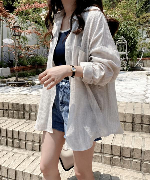 Grained Loose-fit Check Shirt *