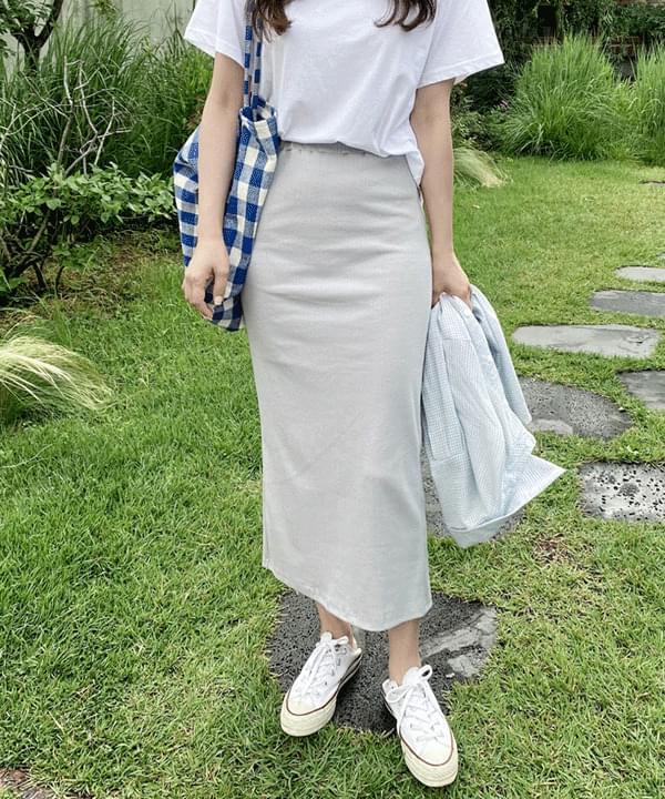 Cord Ribbed Banding Long Skirt