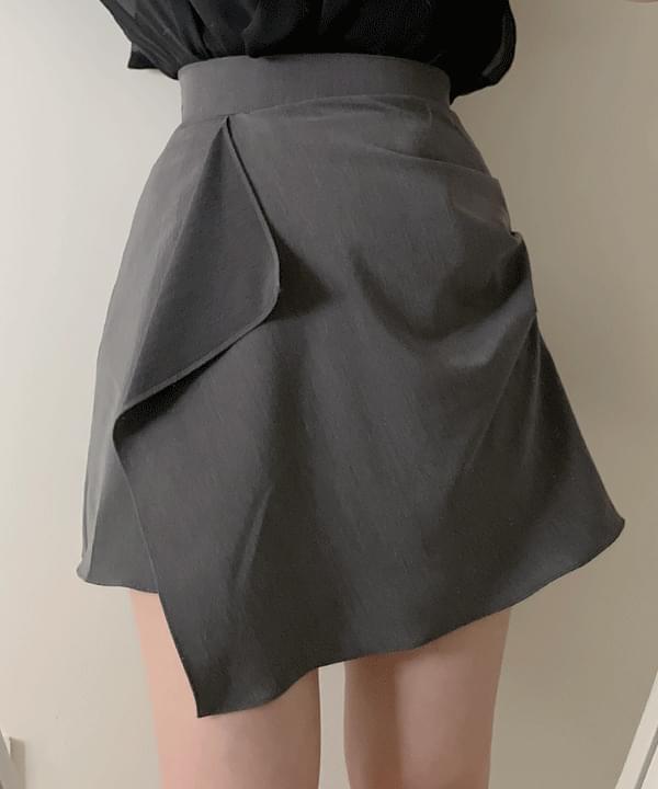 Lehigh shirring unbalance skirt 2color