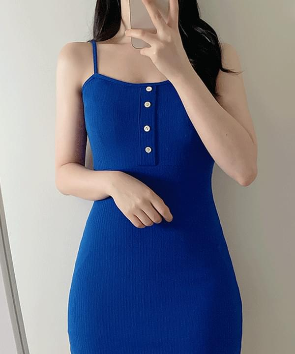 Karin button Ribbed string Dress 3color