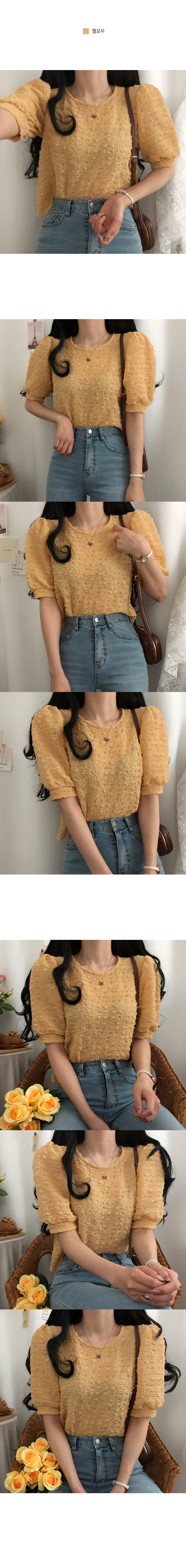 Cloudy pleated short-sleeved blouse