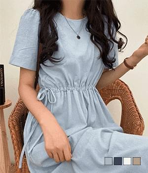 Nine side string short sleeve long Dress
