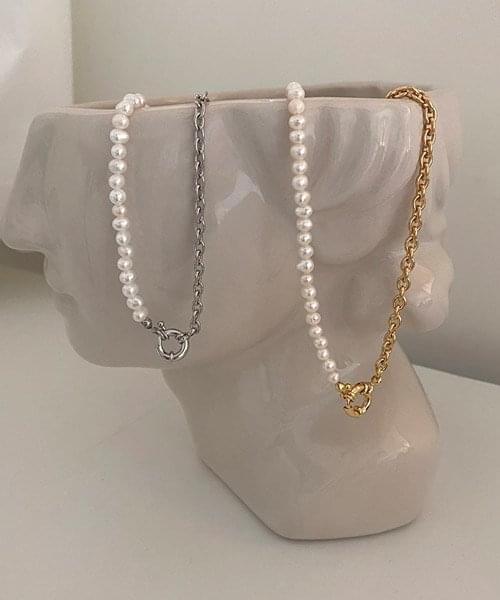 half pearl chain necklace