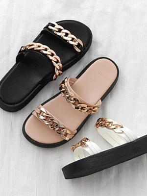 Double Chain Strap Whole Heel Slippers 7076