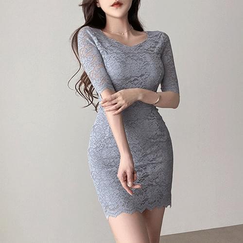 Clavicle Goddess Slim Fit Spandex Lace Dress 3color